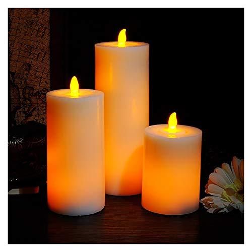 Binn LED Tea Light Senza Fiamma Candele Reali in Movimento della Fiamma di Candela elettrica Decorative LED Cera Reale Candele tremolanti luci Candele Elettriche (Dimensione : 3pcs)