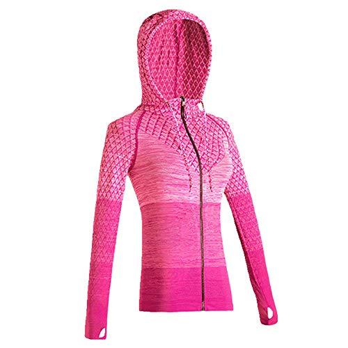 U/A Sudadera con capucha para correr, yoga, fitness, secado rápido, manga larga para mujer Rojo rosso M