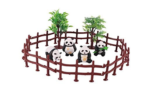 Panda bear Toy Figure Playset,4PCS Realistic Panda Figurines And 10PCS Plastic Fence toys, Cake Decoration, Birthday Easter Christmas Cake Topper, Gift for Kids, Party Supplies