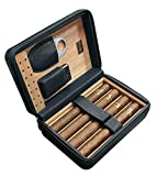 Prestige Import Group - The Manhattan Ostrich Motif Leather Travel Humidor Cigar Case with Zipper Closure - Color: Black