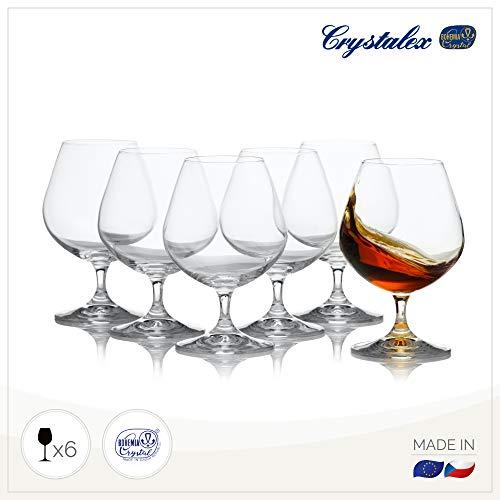 Crystal Brandy and Coñac - Juego de 6 vasos de cristal bohemio elegan