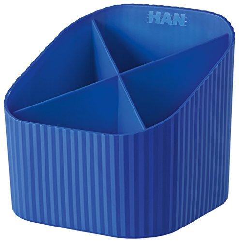 HAN Schreibtischköcher X-LOOP 17230-14 in Blau / Stabiler Stiftebehälter mit 4 unterschiedlich hohen Fächern in modernem Design
