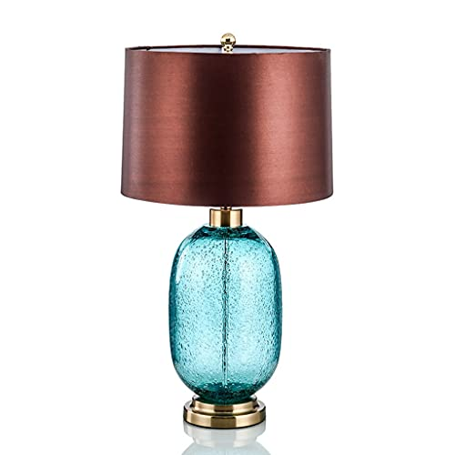 SPNEC Estilo Europeo Simple Retro Botella Azul lámpara de Mesa de cerámica Dormitorio de Cama de Moda Tela de Moda lámpara de Mesa