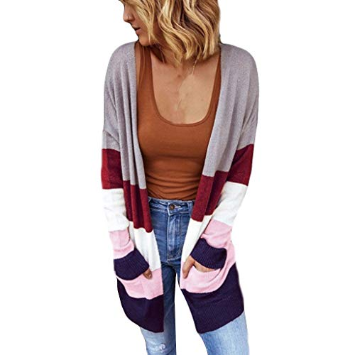 Best Review Of NANTE Top Loose Women's Blouse Color Block Cardigan Jumper Sweater Cardigans Ladies C...