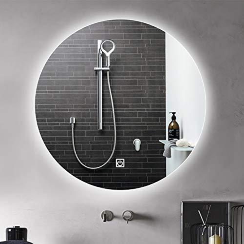 Espejo Baño Redondo Iluminado con Luces LED, Antivaho, Cambio de Temperatura de Color del Interruptor de Atenuación Táctil, Espejo de Tocador Inteligente de Maquillaje Montado En La Pared