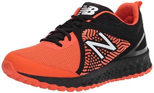New Balance Men's Fresh Foam 3000 V5 Turf Baseball Shoe, Black/Orange, 12