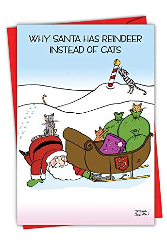 Reindeer Cats - Funny Cat Christmas Note Card with Envelope (4.63 x 6.75 Inch) - Santa and Pet Cats, Humorous Merry Xmas Notecard for Animal Lovers - Cartoon Happy Holidays Card for Kids, Adult 1884