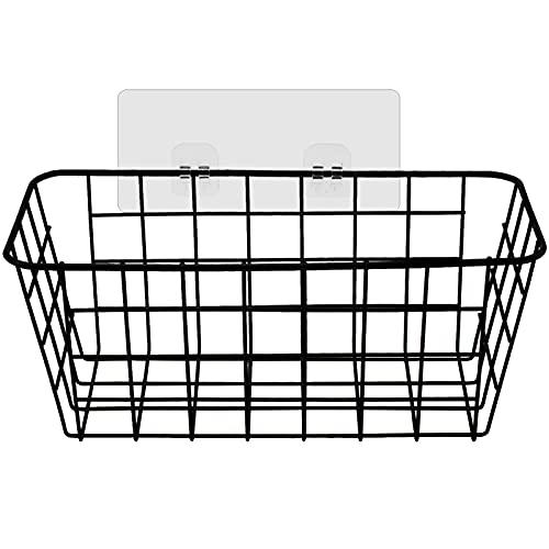 Mikihat Estantes Cesta para Ducha, Cestas de almacenamiento de metal Estante de Almacenamiento de Baño Adhesivo Organizador de Carrito de Ducha Montado en Pared Canasta de(Negro)