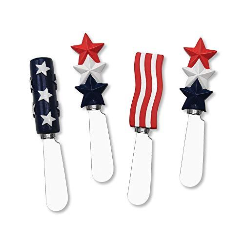 Mr. Spreader 4-Piece American Flag Resin Cheese Spreader, Assorted
