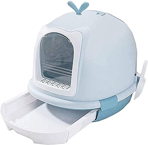WSVULLD Cajas de Arena de Gato, Bandeja para Caminar por Gato Bandeja de Basura Totalmente Cerrada Anti-Splash y Desodorante Aseo para Mascotas Easy Limpieza de Limpieza (Color: Azul, Tamaño: 56 x 45