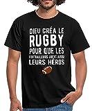 Spreadshirt Dieu Créa Le Rugby T-Shirt Homme, XXL, Noir