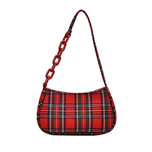KiMiLIKE Kvinnors vintage retro underarm väska rutiga handväskor fransk elegant baguetteväska mode axelväska kvinnor kuvertväska retro mönsterväska
