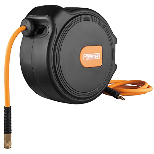 """Freeman P3865CHR 3/8"""" x 65' Compact Retractable Air Hose Reel with Fittings Spring Loaded Compressed Air Hose with Auto-Guide Rewind & 180° Swivel Mount"""