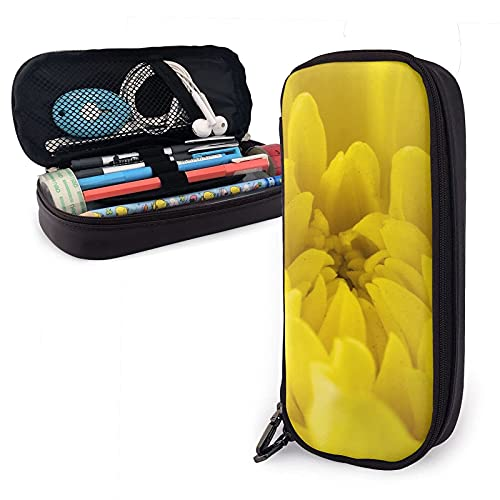 estuche Yellow Flowers Petals Leather Pencil Case Bag,Big Capacity Durable Zipper Pen Bag Box for Boys Girls Kids,Pencil Pouch Storage Makeup Cosmetic Bag School Supplies Stationery
