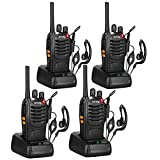 Pofung BF-88A FRS Walkie Talkies for Adults Long Distance Two Way radios with Earpieces, Walkie Talkie Rechargeable Hands Free VOX Two Way Radio with Charger(4 Pack)