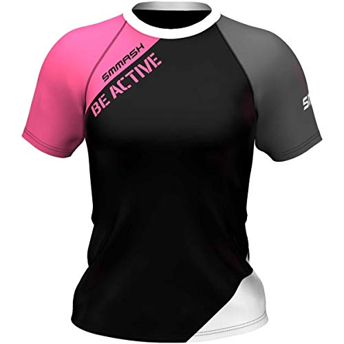 SMMASH Active Camiseta de Entrenamiento para Mujer Manga Corta, Camiseta Deporte Mujer e Yoga, Tshirt Gimnasio, Outdoor, Material Transpirable y Antibacteriano, (XS)