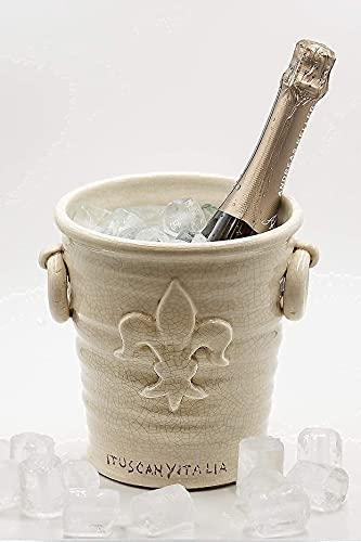 ituscanyitalia   Secchiello del Ghiaccio per Vino Champagne e Spumante - Portaghiaccio Fatto a Mano - Refrigeratore Bottiglia di Vino - Ice Bucket - Portapiante per Cerimonie -