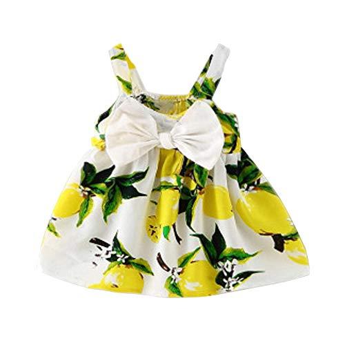 Oliviavan Robe Bebe Noeud Papillon sans Manches Camisole Print Chic Fleurie Imprimée Vêtements Bébé Filles Été Jupe Salopette à Fleurs