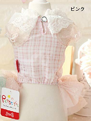 犬の服 ひらひらワンピース チュールスカート コスチューム チェック柄 おしゃれペット 春 夏 犬服 かわいい ピンク (L)