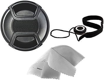 Olympus OM-D E-M1 Mark II Lens Cap Center Pinch Microfiber Cleaning Cloth. 43mm + Lens Cap Holder