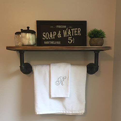 1 Tier Industrial Pipe Wall Shelf with Towel Bar