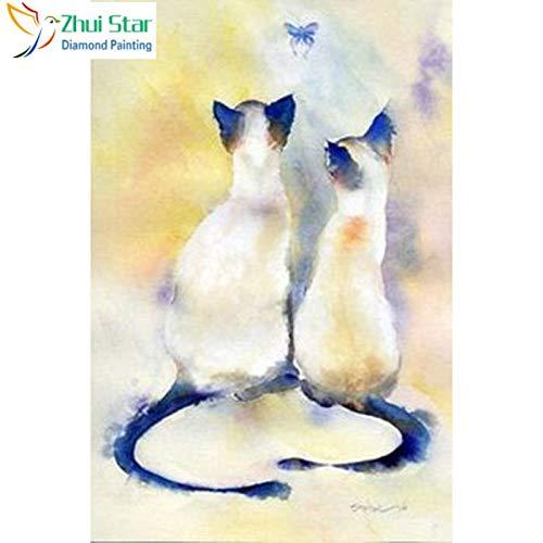 Full Square 5D Diamond Painting & Quot; Dos gatos blancos & Quot; Bordado Punto de cruz Mosaico Decoración para el hogar Gif Cj8Diamond Pintura Cruz Diamante redondo Diamante Dibujo 40 * 50Cm NA
