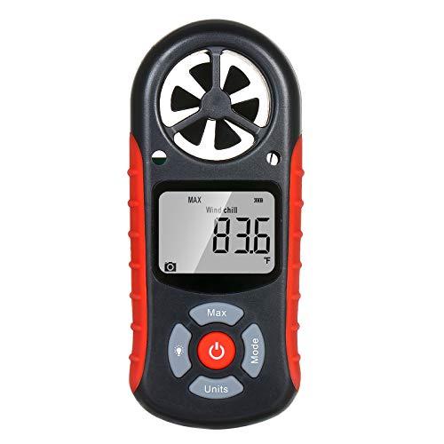 Kshzmoto Anemómetro Digital de Mano 8 en 1 Velocidad del Viento/Sensación térmica/Temperatura/Humedad/Índice de Calor/Punto de rocío/Presión barométrica/Medidor de altitud Meteorógrafo