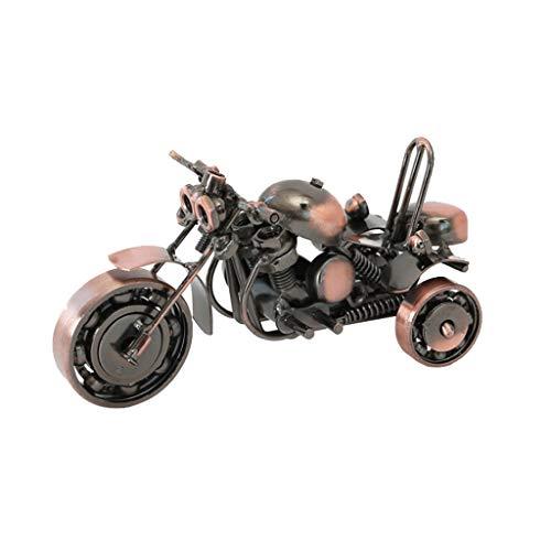 Nosterappou Obra de Arte de decoración de Interiores, Adornos Hechos a Mano, Modelo de Triciclo de Hierro Forjado, Material de Hierro Forjado, Motocicleta Retro pasada de Moda (Color : B)
