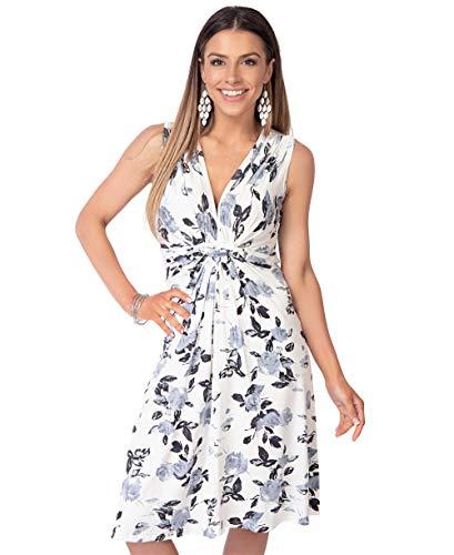 KRISP 6252-GRY-18 Damen Kleid Geknotet Blumenmuster (Grau, Gr.46)