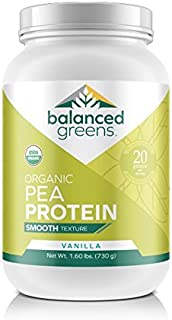 Organic Yellow Pea Protein Powder by balanced greens RAW Vegan Paleo Plant Protein, 20 G per Serving, 27 Servings, Vanilla