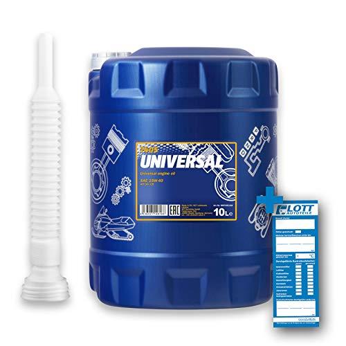 MANNOL 10L Motoröl Universal 15W-40 15W40 hochwertiges Motorenöl API SG/CD + Auslaufschlauch