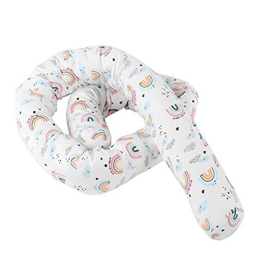 Asixxsix Coussin de lit, Pare-Chocs de lit de bébé en Coton de Couleur vive, Doux pour la Peau, Pur Coton pour bébé(Pink, Rainbow Bed)