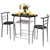 Giantex 3 Piece Dining Set Compact 2 Chairs and Table Set with Metal Frame and Shelf Storage Bistro Pub Breakfast Space Saving for Apartment and Kitchen (Black & Silver)