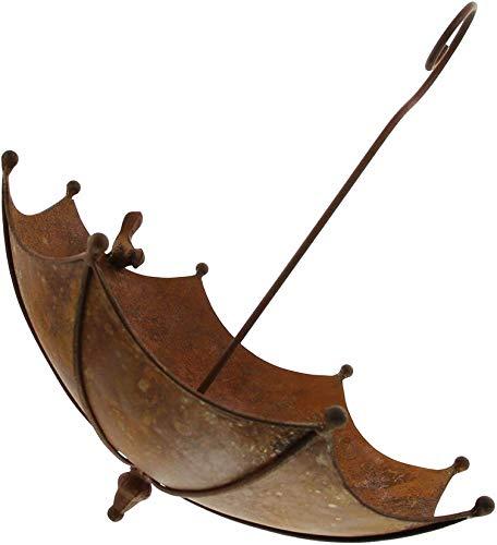 Dekoleidenschaft Vogeltränke Schirm aus Metall in Rost-Optik, Gartendeko zum Aufhängen, Vogel-Futterstelle, Vogelbad