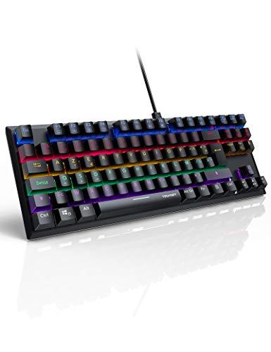 TECKNET Clavier Gamer Mécanique, Clavier Gaming AZERTY Bleu Switches, 88 Touches 100% Anti-ghosting, Rétro-éclairé...