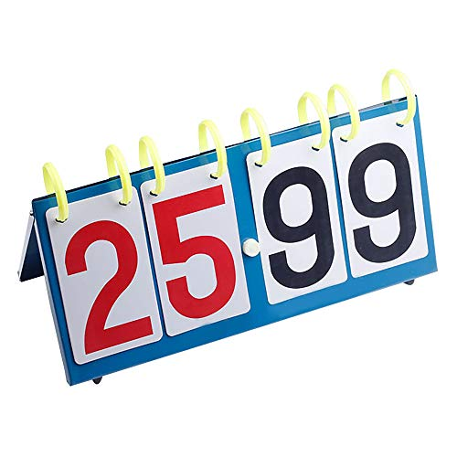 Sport-Anzeigetafel, Basketball-Wettkampf-Anzeigetafel, Fold Score Flipper, Tisch-Anzeigetafel, 4-stellige Zahlen Tragbare Flip-Digital-Anzeigetafel Rot Für Fußball, Tischtennis-Spiel