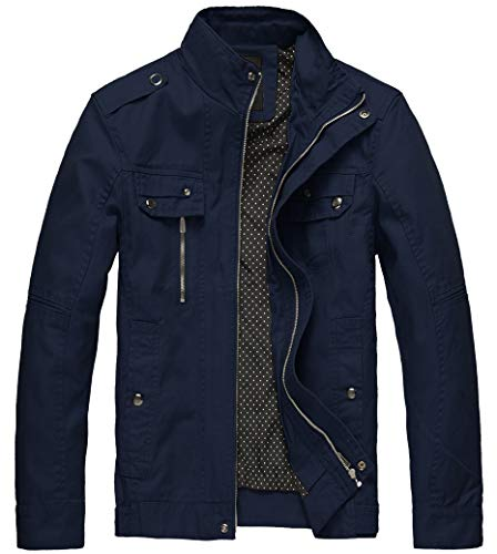 Wantdo Men's Washed Cotton Slim Windproof Outdoor Jacket Navy,X-Large