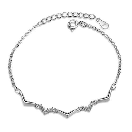HumoliStore La moda de joyería de plata 925 pulsera de la piedra preciosa, tamaño: 16 cm extendido Por 5cm, Damas AAAAA circón mujeres del diseño simple regalo del partido ondulada Hermosa y elegante