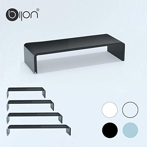 bijon® TV Aufsatz Glas Bildschirm-Erhöhung | PC Monitor-Erhöhung, Schreibtisch-Aufsatz für Laptop Erhöhung, Monitor-Erhöhung | (B/T/H) 700x300x130mm - schwarz