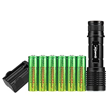 Skywolfeye Led 1800 Lumen 18650 Flashlight with 6Pcs 3.7V High Capacity Button Top Rechargeable Battery and Charger,Ultra Bright Adjustable Focus and 5 Modes for Camping Hiking