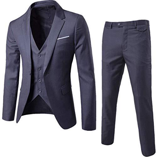 Men's Notch Lapel Modern Fit Suit Blazer Jacket Tux Vest & Trousers Set Three-Piece, Dark Grey, Small