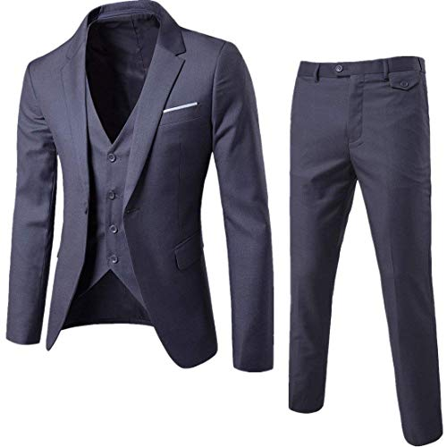 Cloudstyle Mens 3-Piece Suit Notched Lapel One Button Slim Fit Formal Jacket Vest Pants Set,Dark Grey,XX-Large