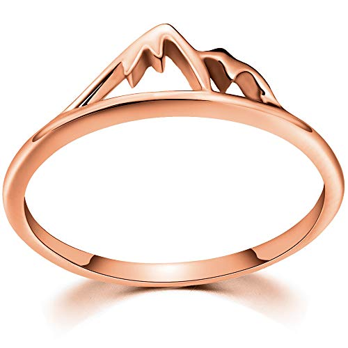Jude Jewelers Stainless Steel Mountain Design Statement Promise Biker Party Ring (Rose Gold, 8)