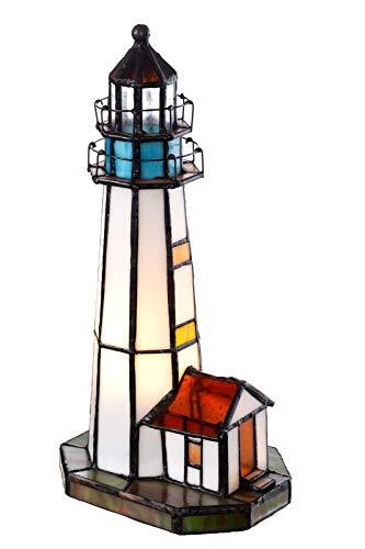 Lampe im Tiffany-Stil Leuchtturm Dekorationslampe Glaslampe, Leuchte,Tischlampe, Tischleuchte (Rot-Blau)