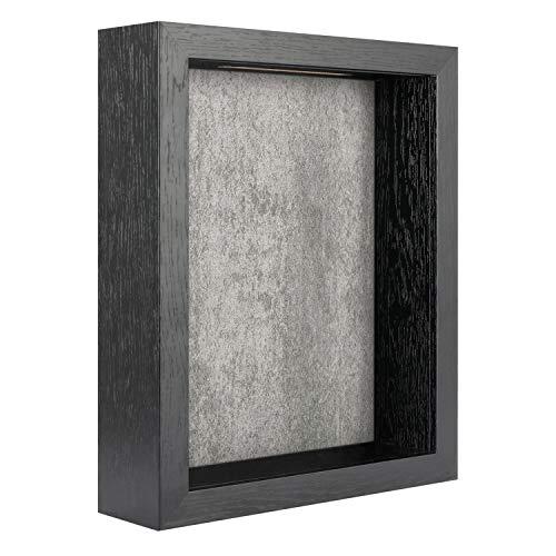FRAME YI 8x10 Shadow Box   Top Loading Shadow Box   ShadowBox Display Case   Wood Deep Shadow Box   Ticket Shadow Box with Slot   Memory Box (Black Shadow Box with Industrial White Backboard, 8x10)
