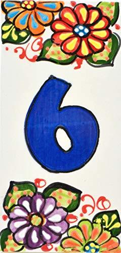 ART ESCUDELLERS Números casa. Numeros y Letras en azulejo de Ceramica Hechos y Pintados a Mano, para Placas con Nombres, direcciones y señaléctica. Diseño Jardin 14,5 cm x 7 cm. (Numero Seis 6')