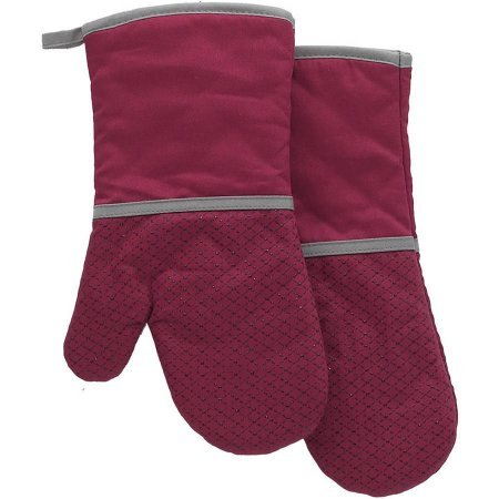 Better Homes and Garden Tan Silicone Printed Oven Mitt, Set of 2 (Red)
