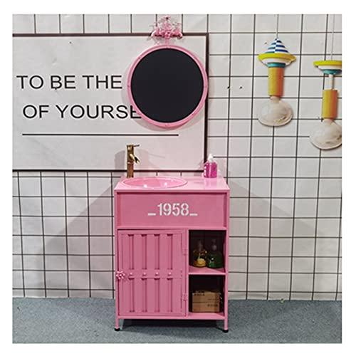 Mueble Lavabo De Pedestal Retro Creativo, Lavamanos Bano con Combinación De Grifo Y Drenaje, Fregadero con Pie Personalidad De Hierro Forjado 65x46x85cm(Color:Rosa + Espejo)