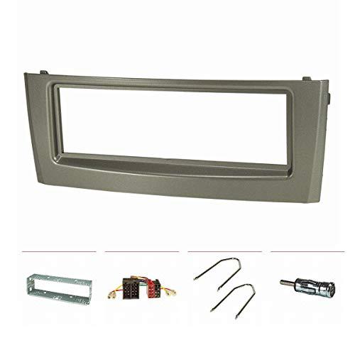 tomzz Audio 2414-072 Radioblende Set passend für FIAT Grande Punto Typ 199 Bj.2005-2009 grau mit Metallschacht, Radioadapter ISO, Antennenadapter ISO DIN, Entriegelungsbügel