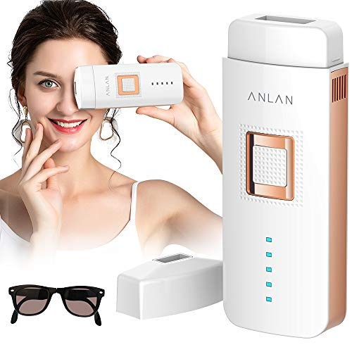 Epilateur Lumière Pulsée, ANLAN IPL Epilateur Laser Definitif Professionnel, 2 Modes avec 500,000 Flashs Pulsations Permanent pour hommes femmes